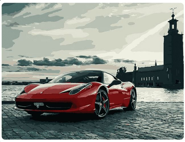 Red Ferrari At A Lighthouse - LOVIELO