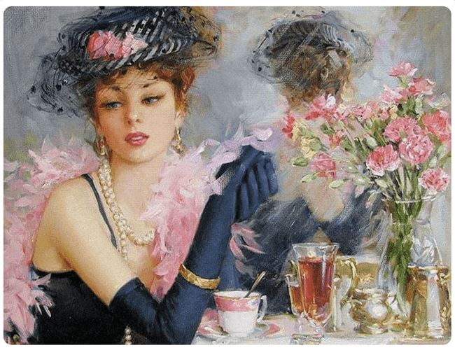 Vintage Beautiful Lady and Tea - LOVIELO