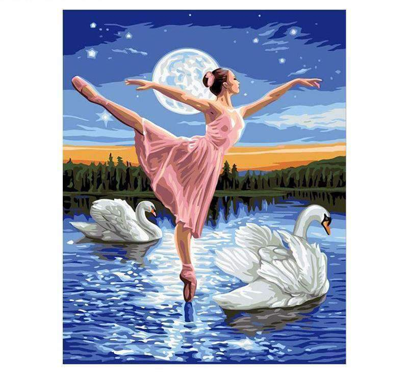Pretty Ballerina and Swans at Night - LOVIELO