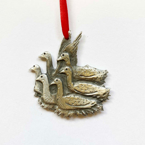 12 days: 6 Geese Pewter Ornament