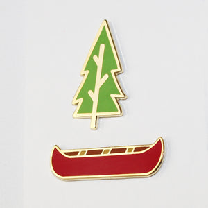 Canoe and Tree Enamel Pin Set