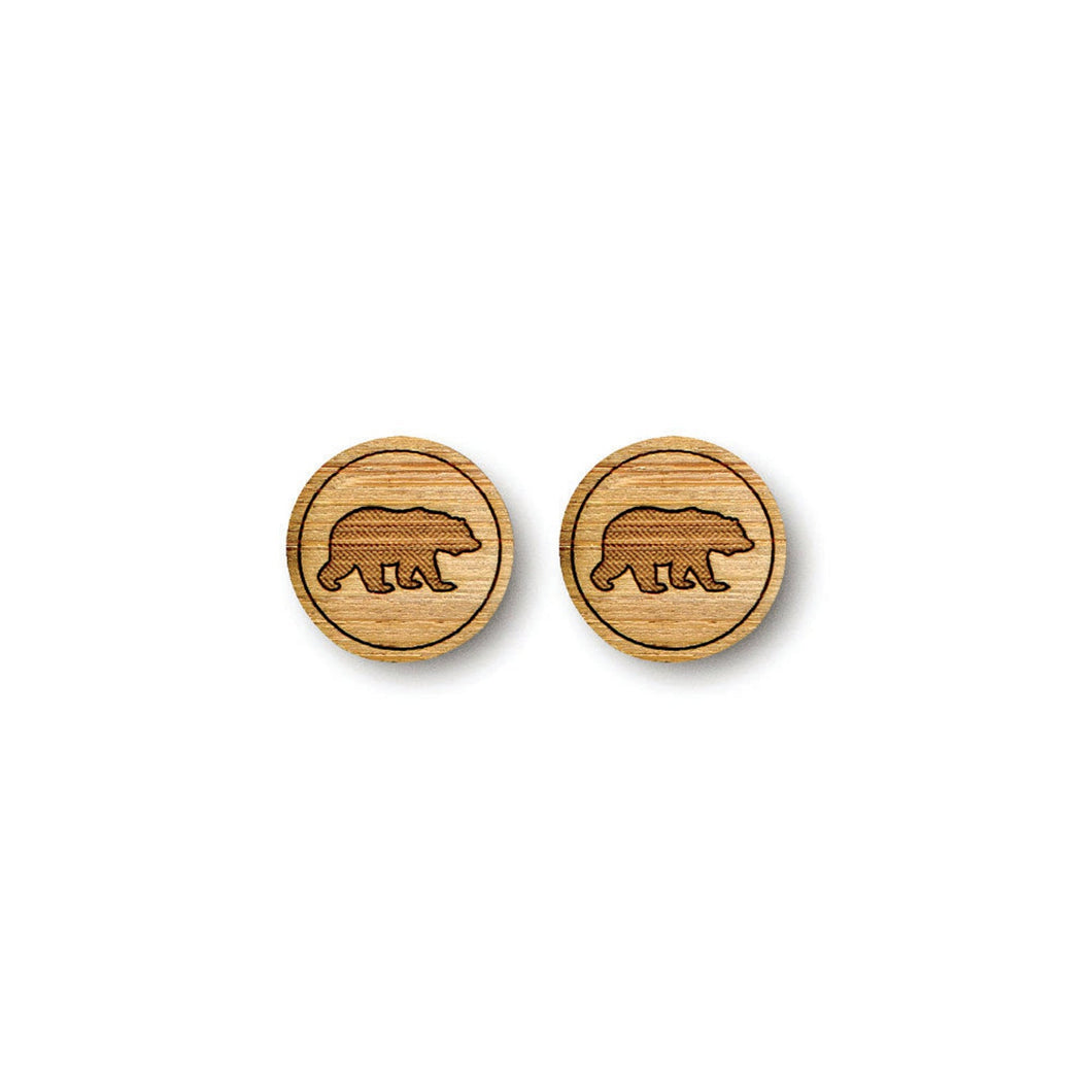 Medium Bear Bamboo Earrings