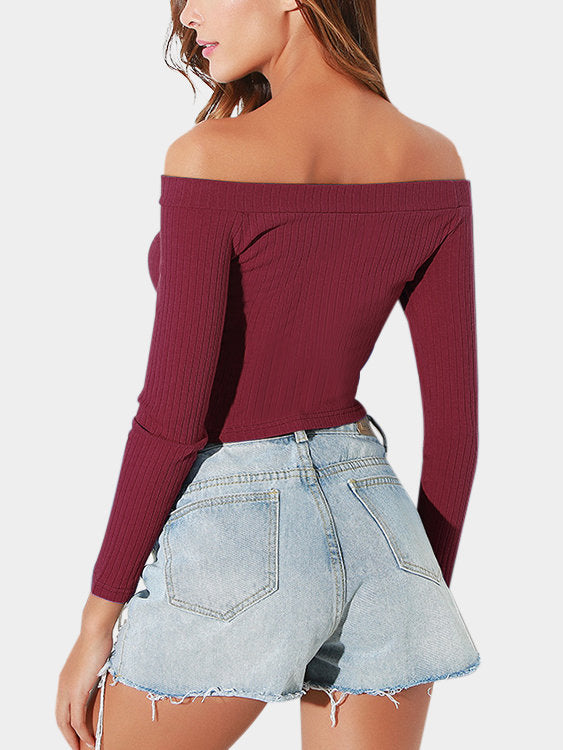 Long Sleeves Off Shoulder Crop Top