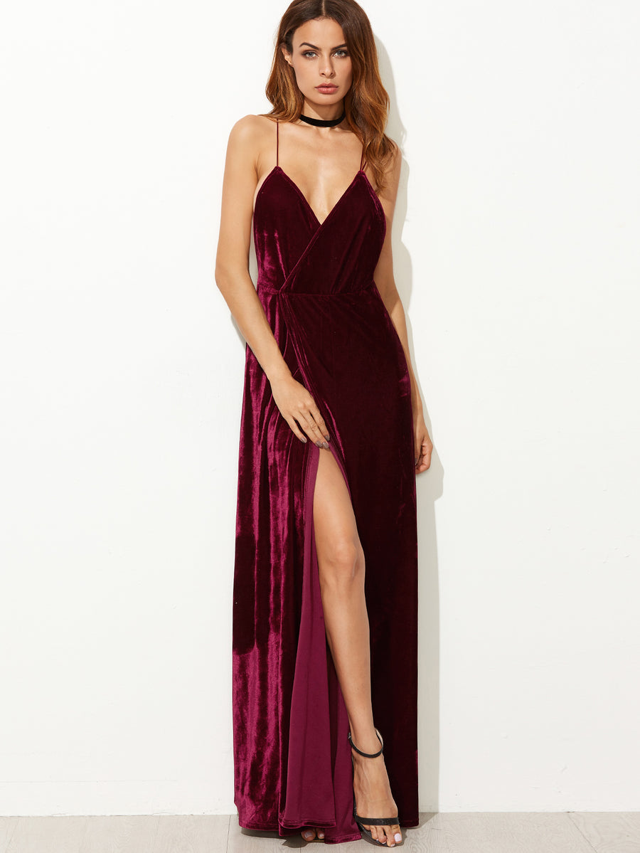 Burgundy Velvet Maxi Backless Dress