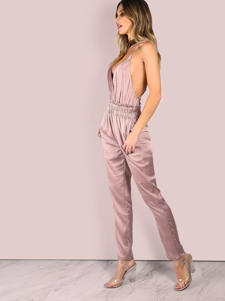 Low Back Cross Back Satin Jumpsuit - Hera Legacy