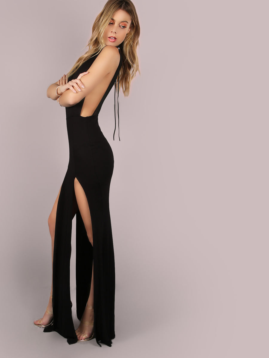 Mesh Back Double Slit Maxi Dress