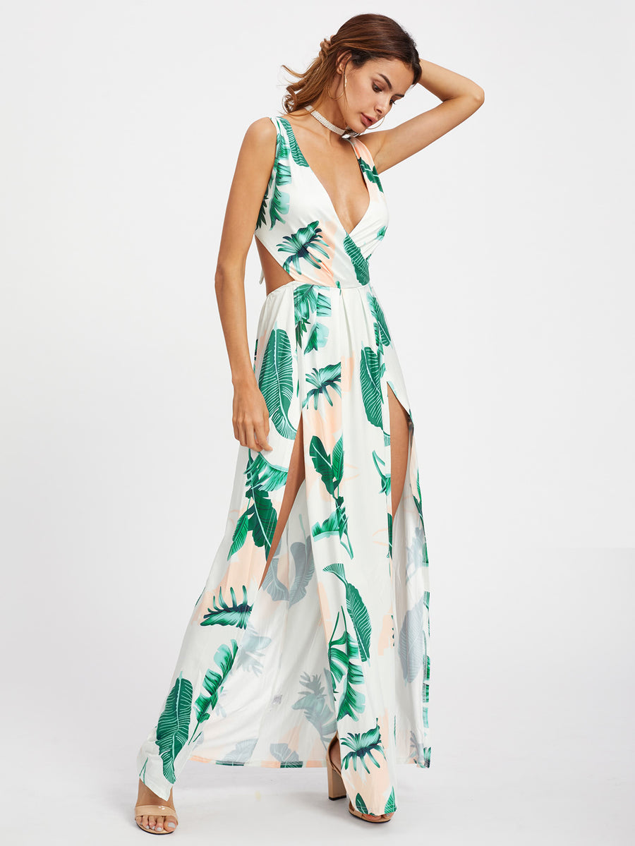 Tropical Print Open Back M-Slit V-Neck Maxi Dress