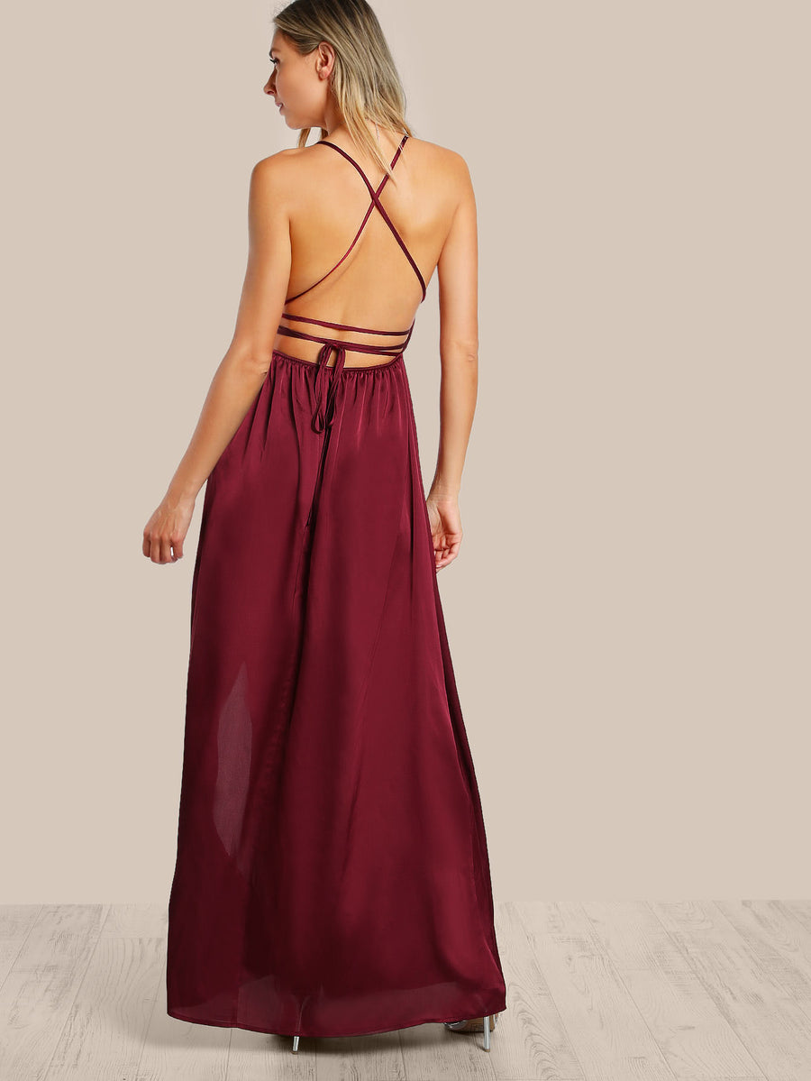 Plunge Neck Crisscross Back High Slit Wrap Cami Dress - Hera Legacy