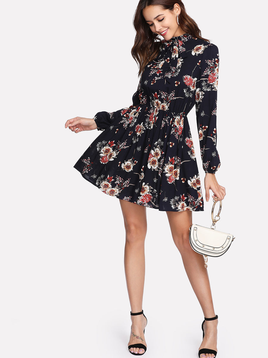 Tie Neck Floral Print Mini Dress - Hera Legacy