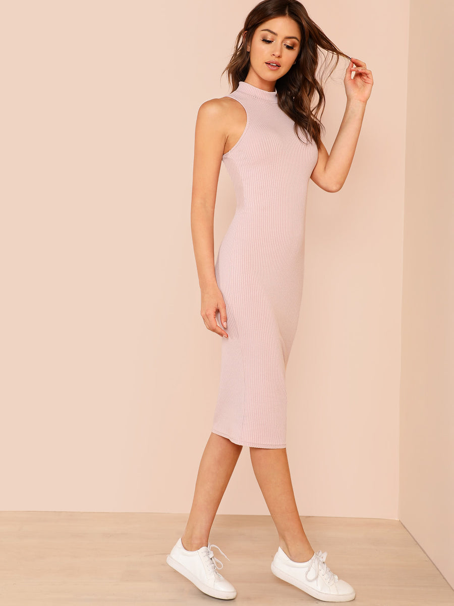 Mock Neck Rib Knit Pencil Dress - Hera Legacy