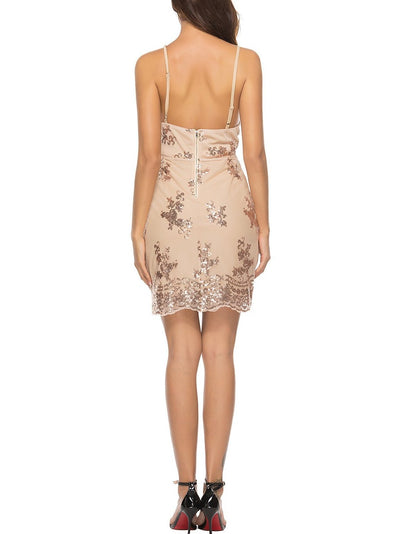 Open Back Plunge Sequins Cami Dress - Hera Legacy