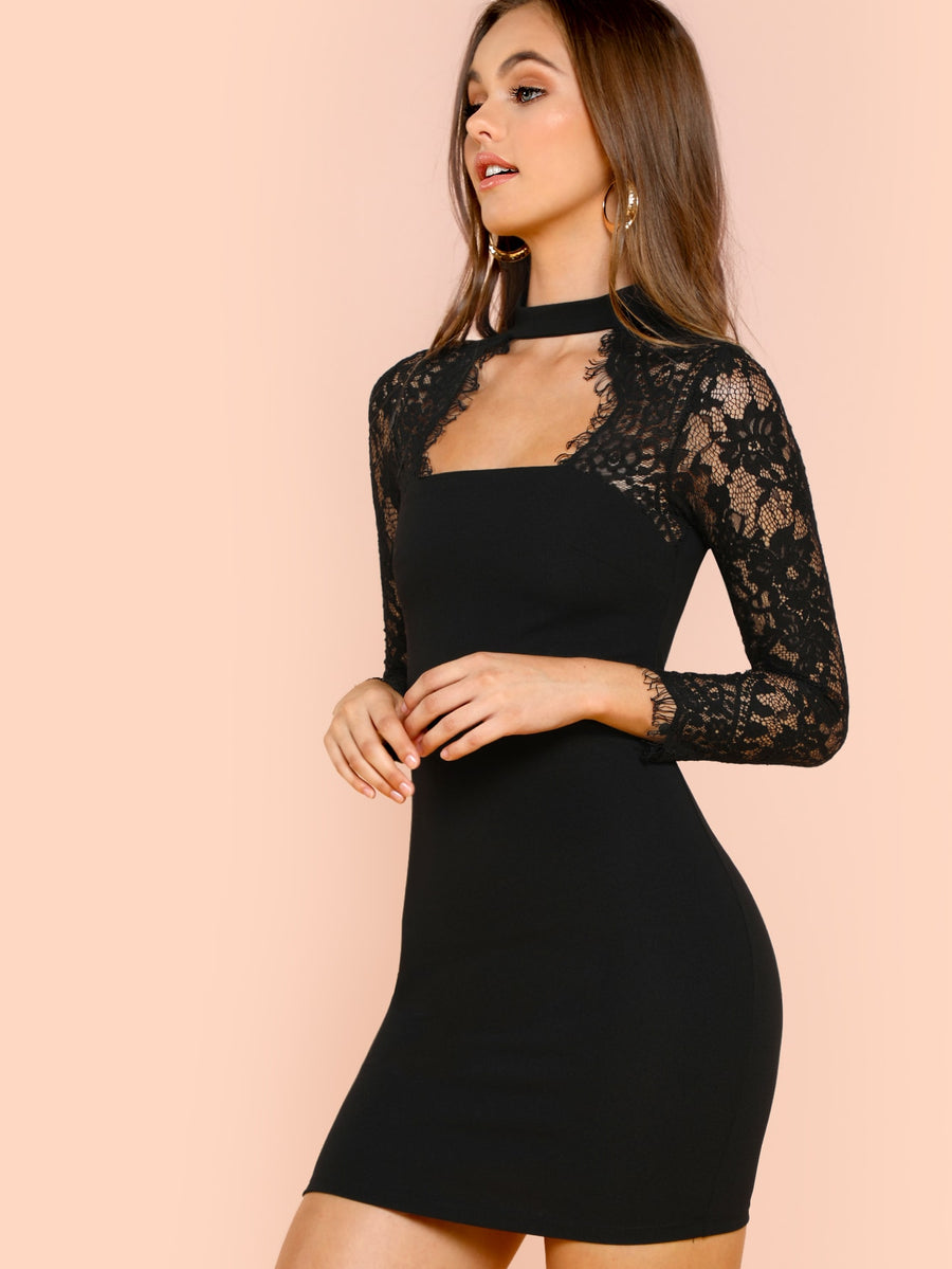Lace Insert Solid Form Fitting Mini Dress