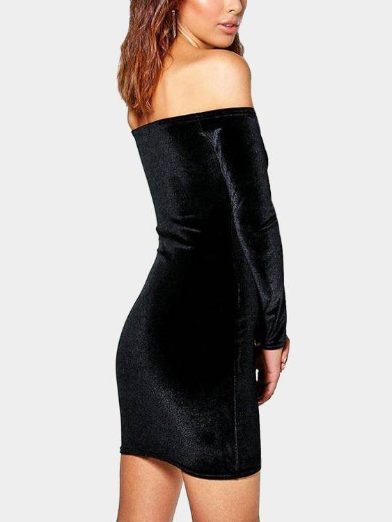 Off Shoulder Bodycon Velvet Dress - Hera Legacy