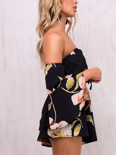 Off Shoulder Floral Print Playsuit - Hera Legacy