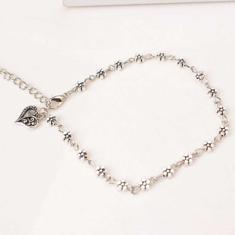 Silver Flower Chain Anklet with Heart Pendant