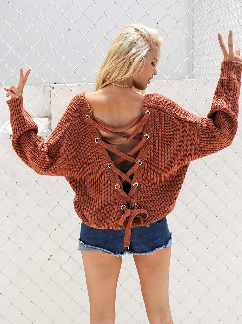 Backless Lace up Knitted Sweater - Hera Legacy