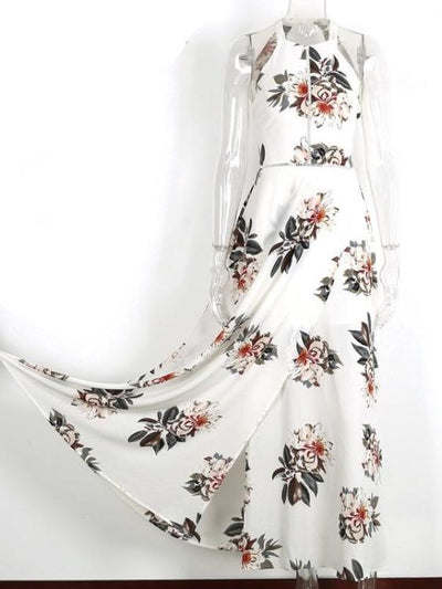 Halter Neck Open Back Floral Print Maxi Dress - Hera Legacy