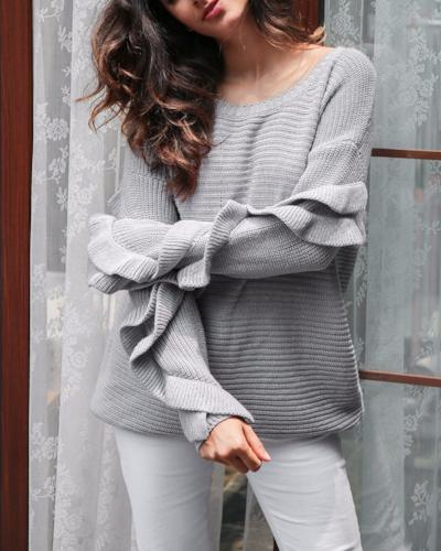 Knitted Sweater with Flared Sleeves - Hera Legacy