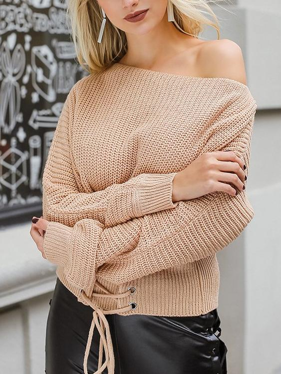 O-Neck Lace Up Knitted Sweater - Hera Legacy