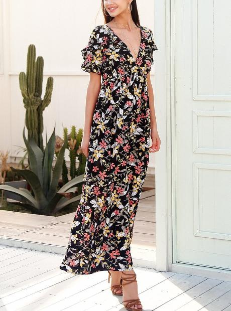Deep V-neck Floral Maxi Dress - Hera Legacy