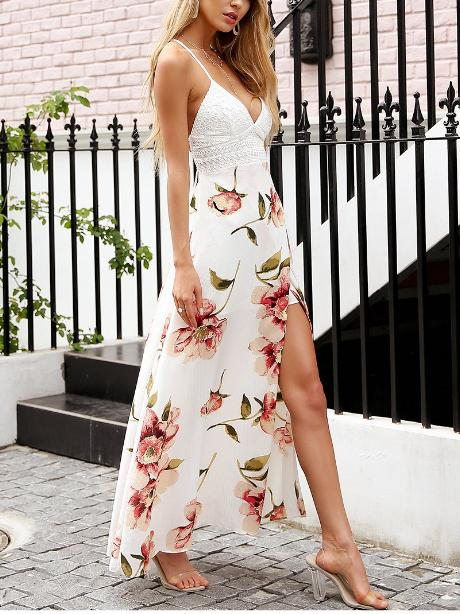 Floral Strap Hollow Out Backless Maxi Dress - Hera Legacy