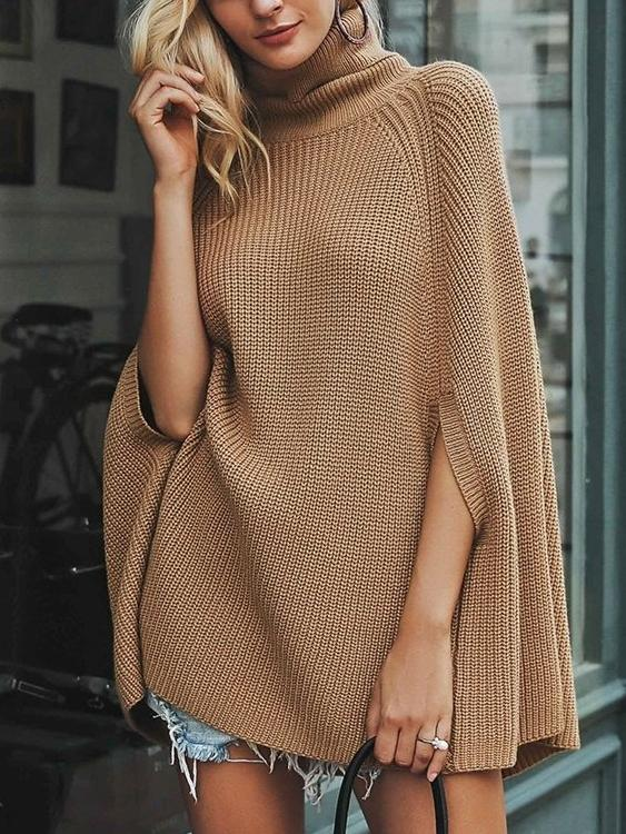 Knitted Turtleneck Cloak Sweater - Hera Legacy