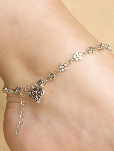 Silver Flower Chain Anklet with Heart Pendant - Hera Legacy