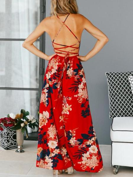 Floral Print Split V-Neck Maxi Dress - Hera Legacy