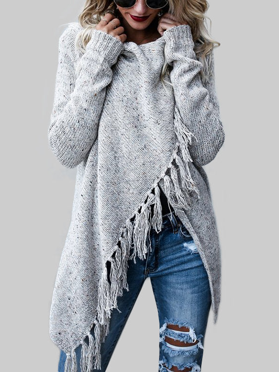 Knitted Tassel Trim Asymmetrical Long Sleeve Sweater - Hera Legacy