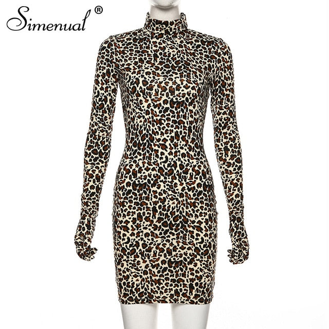 Leopard Sexy Party Dress With Gloves