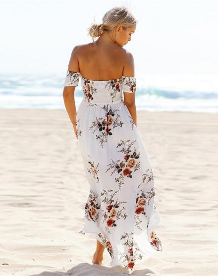 Floral Print Off The Shoulder Dress With Slit Hem