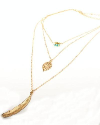 Fashion Simple MultiLayer Necklaces with Leaf Pendant