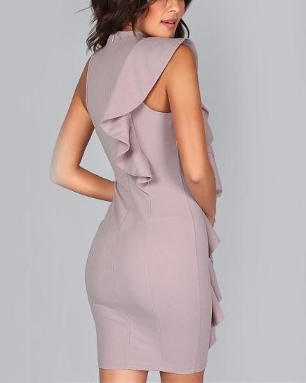 Sexy Bodycon One Sided Exaggerated Frill Dress