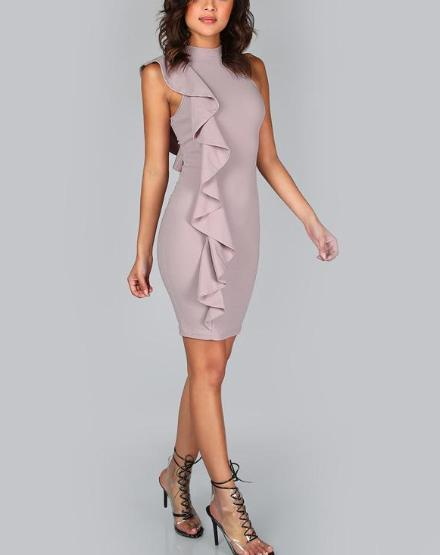 2f7569eb390 Sexy Bodycon One Sided Exaggerated Frill Dress - Hera Legacy