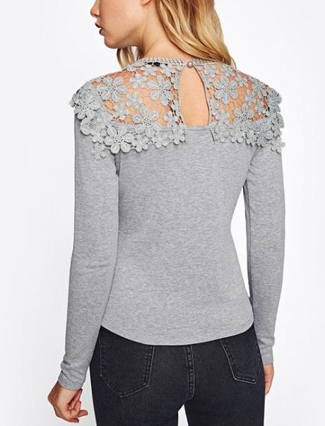 Guipure Lace Yoke Slim Fit Heathered Tee - Hera Legacy