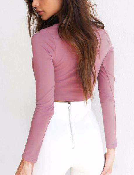 Crossed Front Design V-neck Crop Top