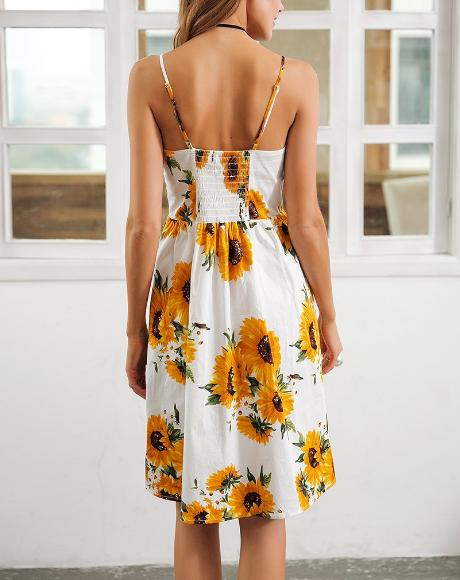 Sunflower Print Backless Midi Dress - Hera Legacy