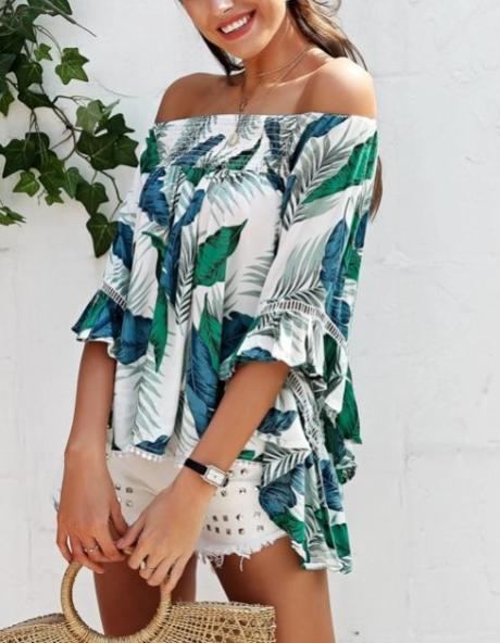 Floral Print Flared Sleeve Blouse - Hera Legacy