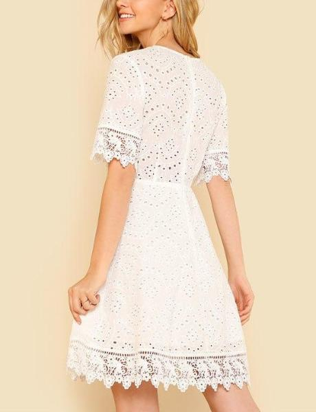Lace Trim Eyelet Embroidered Short Dress - Hera Legacy