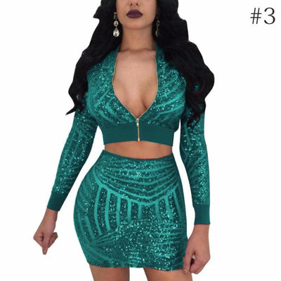 Mesh Sequins Long Sleeve Zipper Top & Skirt Two Piece Set - Hera Legacy
