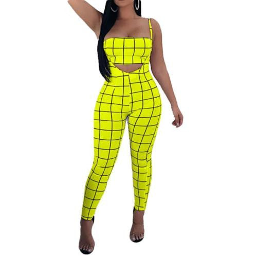 Plaid Tight Jumpsuit