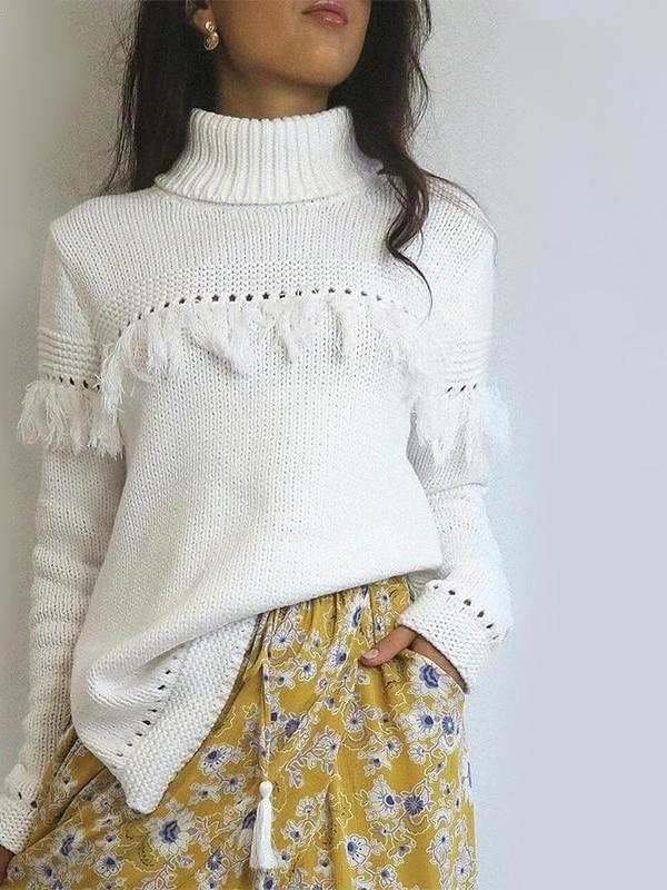 Turtleneck Hollow Out Tassel Details Knit Sweater - Hera Legacy