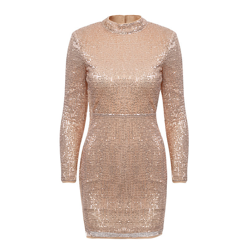 Glamaker Satin sequined Backless sexy dress