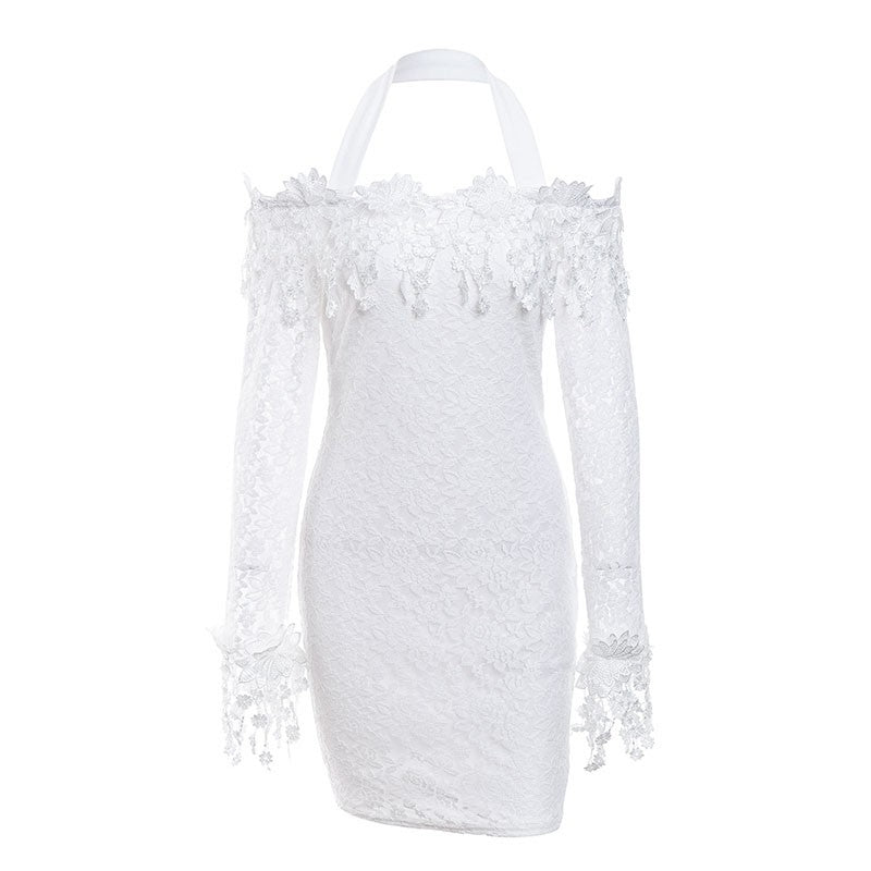 r Halter lace mesh christmas dress