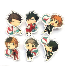 6pcs Haikyuu! High School Badge Brooch Acrylic - Kawainess