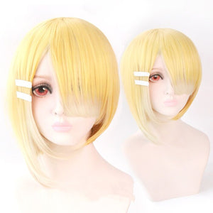 Maou Sama Retry Aku Cosplay Wig Short Gradient Heat Resistant Synthetic Hair Wig +  Free Wig Cap
