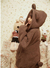Bear Hoodie Plush Hoodies Fleece  Rabbit Ear Japanese Harajuku - Kawainess