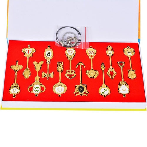 Fairy Tail Keychain Cosplay Accessories set Weapon Collection Lucy Sign of the Zodiac Gold Key Necklace Pendants for Gift