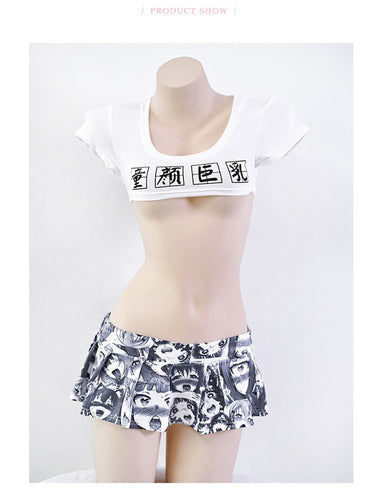 Ahegao Funny Japanese style pleated skirts Lingerie