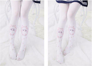 1 Pair Summer Thin Kawaii Cosplay Kitty Tight Girl's Thigh High - Kawainess